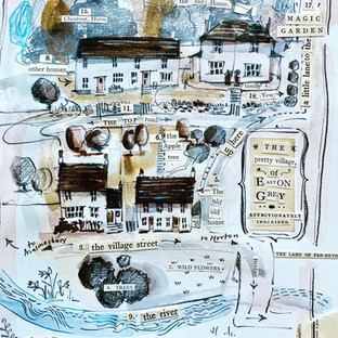 Story book style map illustration of a Cotswold village where I used to live.