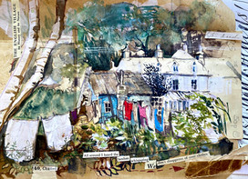 A mixed media sketch of Chalford, Stroud