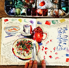 Cafe Sketch in a Daily Journal