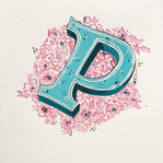Modern Illuminated Letter with painted Liberty print  background