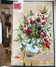 Autumn Bouquet with found poetry on an old book cover