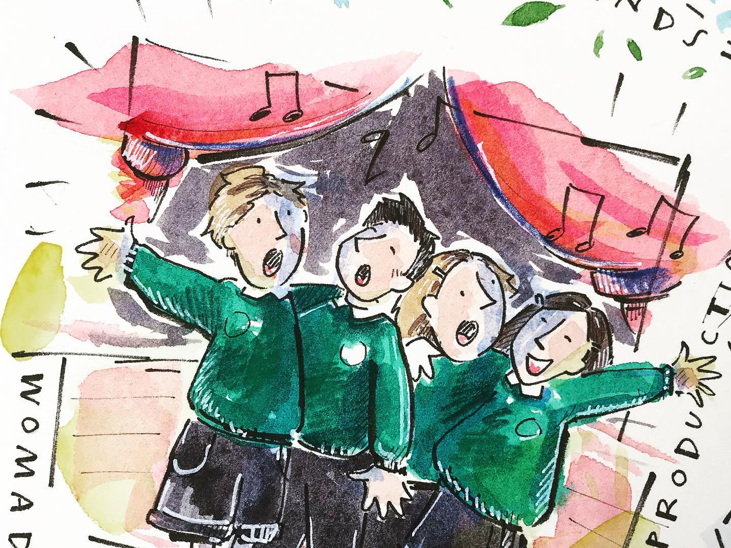 Illustration documenting the community and annual events at Crudwell Primary School