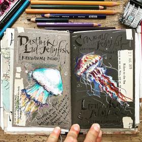 Jellyfish in gouache on a handmade midtone sketchbook