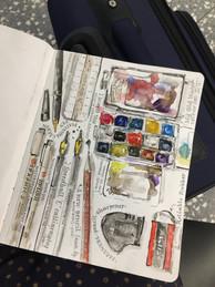 Recording art materials at the beginning of a sketchbook