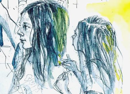 Detail of an evening sketch.