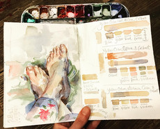 Experiments with watercolour skin tone
