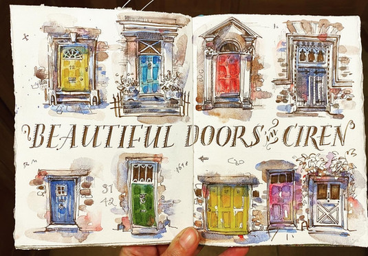 Doors and their details from a themed house sketchbook