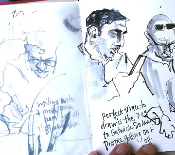 Sketching on the train to Gatwick