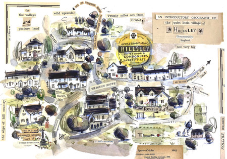 Village Map. Graphite, watercolour and collage