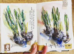 Nearly Spring: part of my non-dominant hand sketchbook