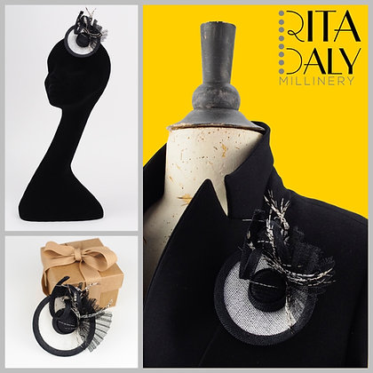 BLACK AND WHITE HAT BROOCH