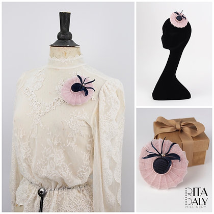 SOFT PINK AND NAVY HAT BROOCH