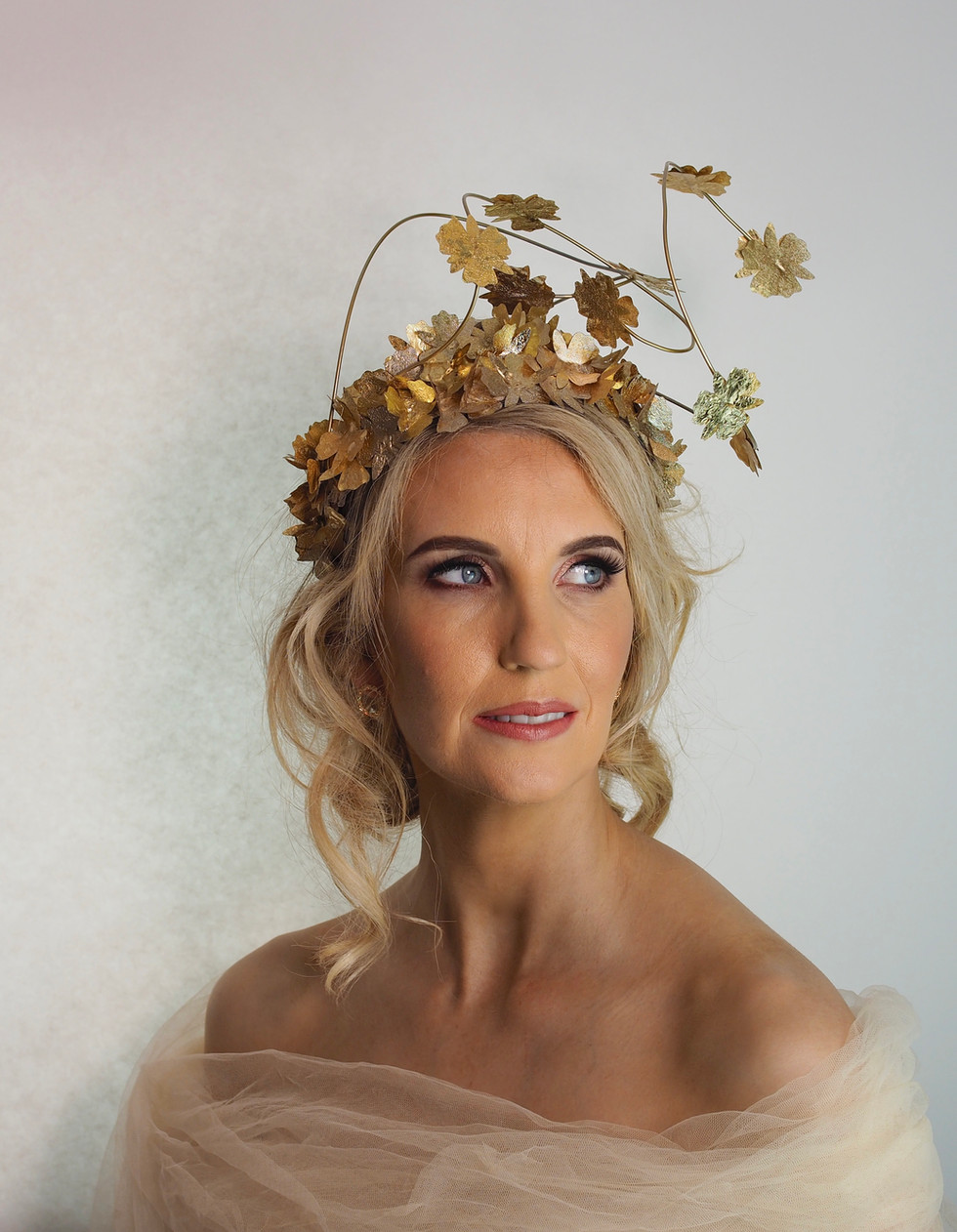 Gold Special Occasion Crown With Floral