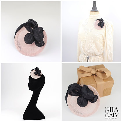 SOFT PINK AND BLACK HAT BROOCH