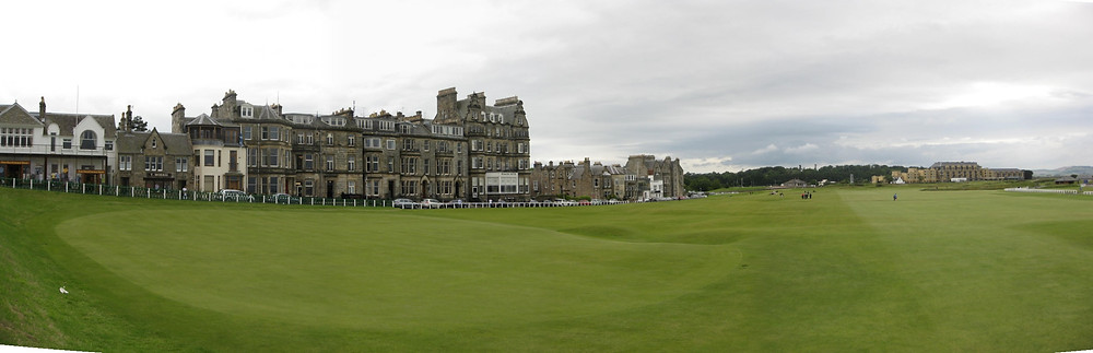 View of the Old Course looking out from the 18th green.