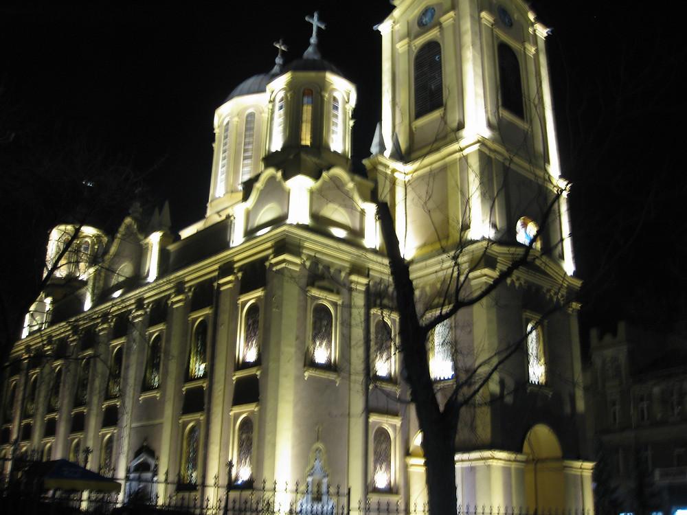 Christian Church Lit Up At Night in Sarajevo