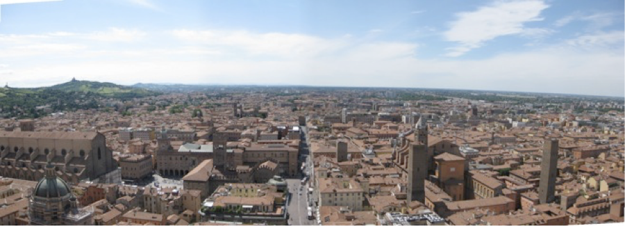 Panorama of Bologna, Italy taken while atop one of its two towers.
