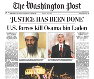 Washington Post headline regarding the death of Osama bin Laden.