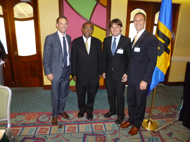 Worldwatch staff at the Mobilization Forum. From left to right: Alexander Ochs, Senator Darcy Boyce (Energy Minister of Barbados), Evan Musolino, Mark Konold.