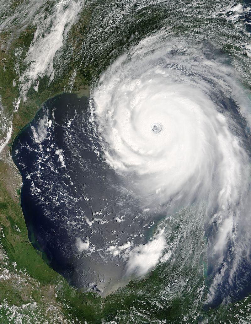 NASA satellite photo of Hurricane Katrina, 2005.