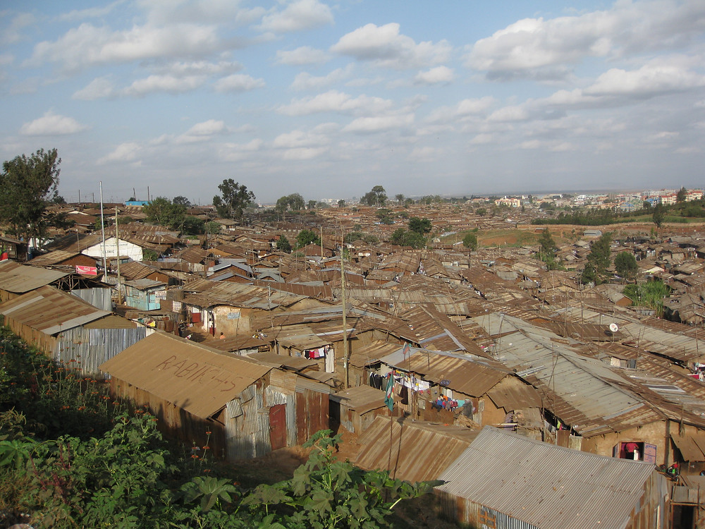 Kibera slum, just outside Nairobi, Kenay