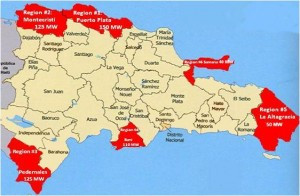 Areas in the Dominican Republic with strong wind power resources. (Worldwatch Institute)