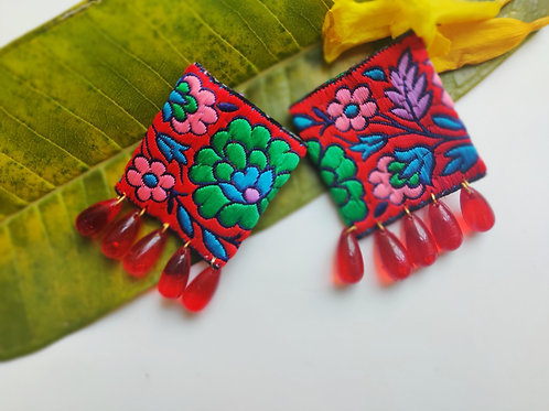 Red Embroidered Earrings