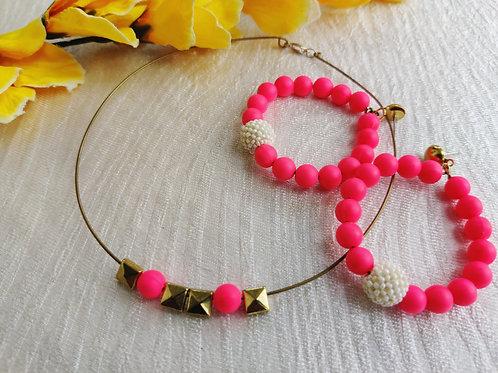 Neon Pink Set (Choker+Hoops)