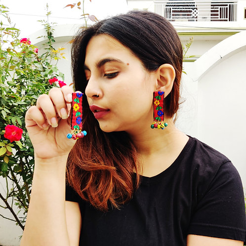 Fabric Ghungroo Earrings