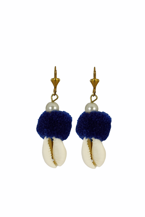 Pompom Cowrie Earrings