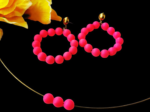 Neon Pink Hoops with Choker (set)