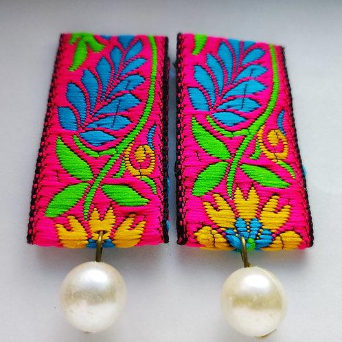 Fabric Pearl Earrings