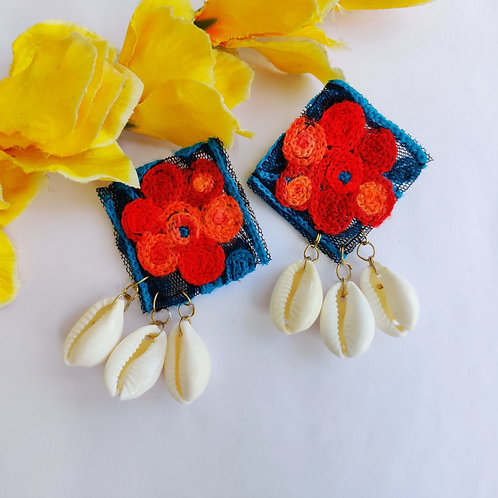 Fabric Cowrie Shell Earrings