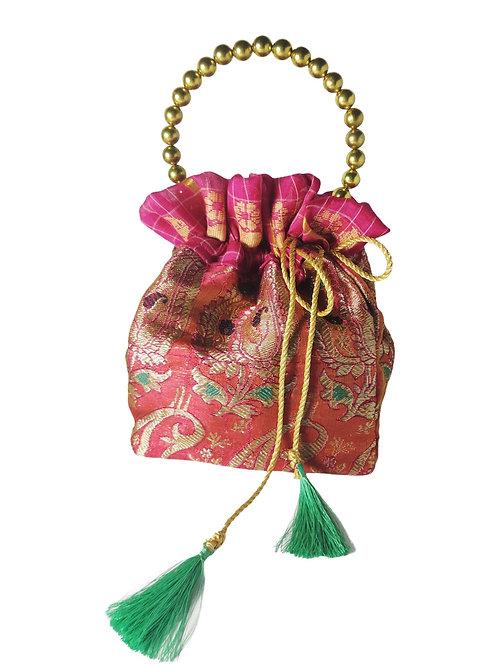 Zari Potli Bag with Pearl Handle