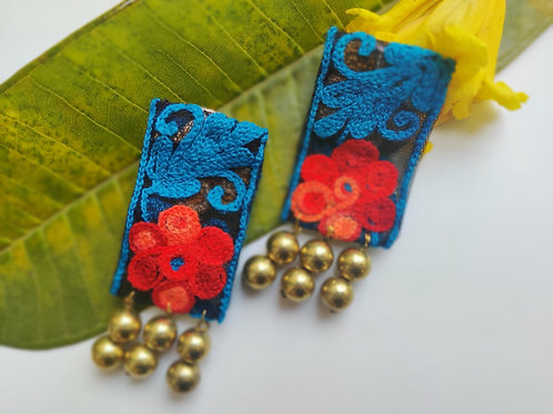 Fabric Embroidered Earrings