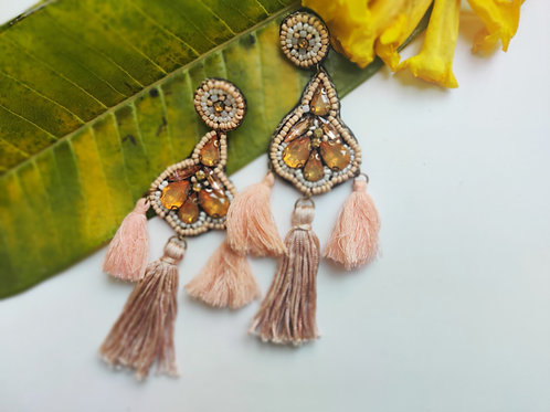 Peach Fringe Tassels with Stone Embellishment