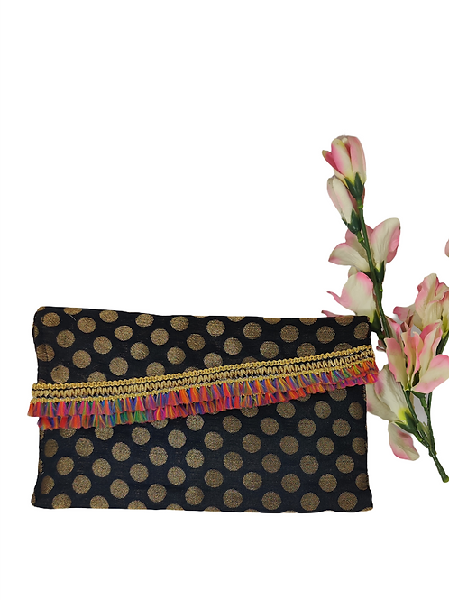 Zari Polka Dots Clutch Bag