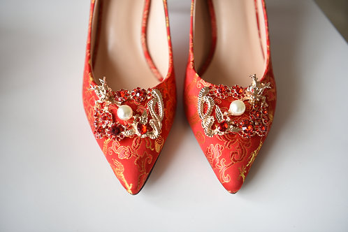 Dragon and Phoenix Red Heels