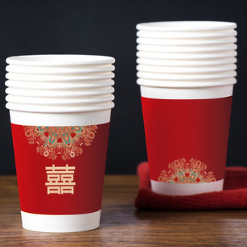 Festive Red Paper Cups - packet of 50