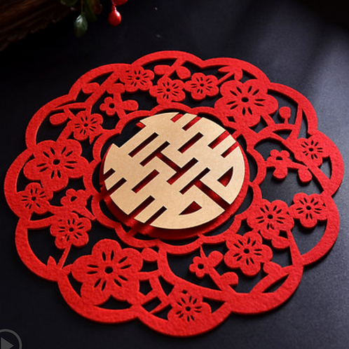 Circular Floral Double Happiness Sign