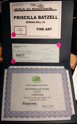 certificate of award Fine Arts 2017