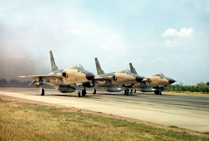"US Air Force Republic F-105 Thunderchiefs, or ""Thuds,"" take off on a mission to bomb North Vietnam, 1966.  Source: US Air Force"