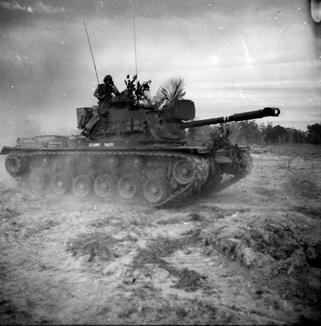 On 8 January 1967, Troop B 3rd Squadron, 4th Cavalry, 25th Infantry Division joined the operation and became a blocking force along the Saigon River in the Filhol Plantation. M48A3 Tank moving towards its assigned blocking position.   Source: VA029784, Robert Lafoon Collection, The Vietnam Center and Sam Johnson Vietnam Archive, Texas Tech University