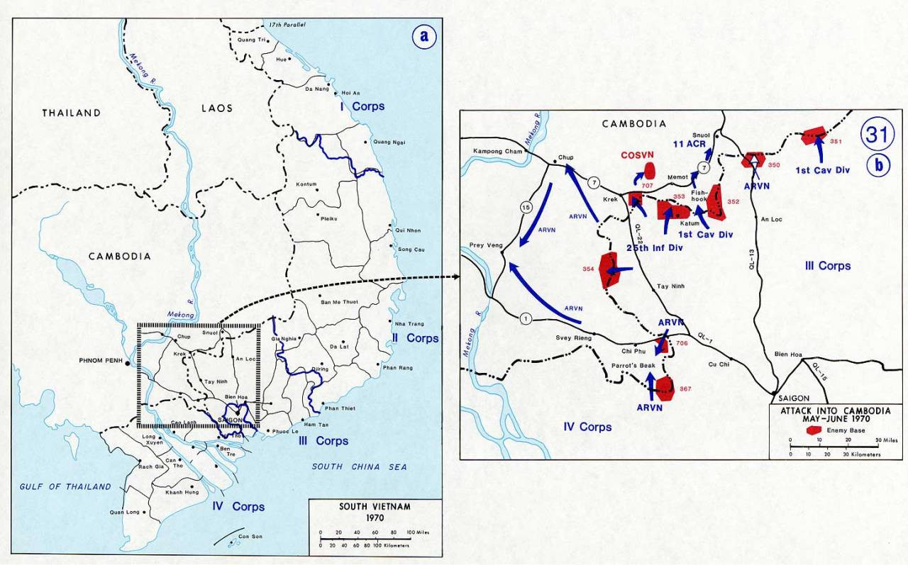 Operational map for the invasion into Cambodia, May-June 1970.