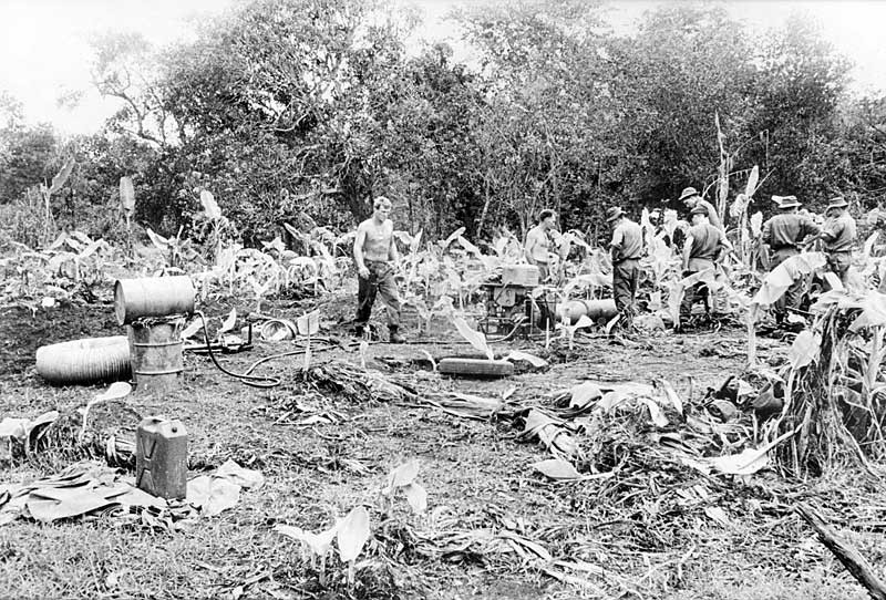 The Cu Chi tunnel system was discovered during Operation Crimp, carried out by the US Army's 173rd and 3rd Brigades together with 1RAR in Cu Chi, Binh Duong Province in January 1966. During the operation, engineers of 3 Field Troop, Royal Australian Engineers, used a turbo jet blower to produce and circulate diesel mist into a section of the tunnel system, when ignited it destroyed this part of the tunnel.  Australian War Memorial item no. P01595.007