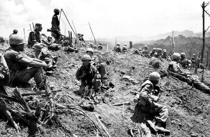 U.S. paratroopers of the 101st Airborne Division rest atop the damaged crest of the 3000-foot Ap Bia Mountain on the western edge of the A Shau Valley, one mile east of Laos, in South Vietnam on May 21, 1969 during the Vietnam War.   Source: AP Photo
