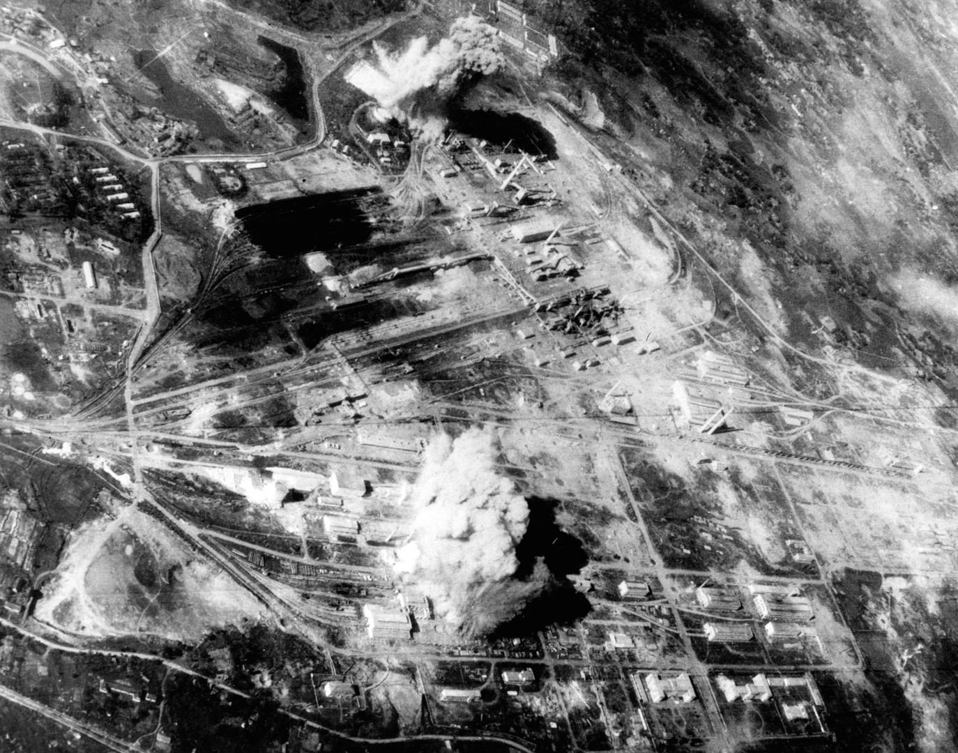 US Air Force attack on the Thai Nguyen steel plant north of Hanoi, 1967.  Source: US Air Force