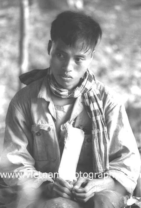 A Viet Cong prisoner captured near Quần Lợi on July 10, 1966. He was captured by soldiers from the 1st Infantry Division.   Used with permission of the photographer.