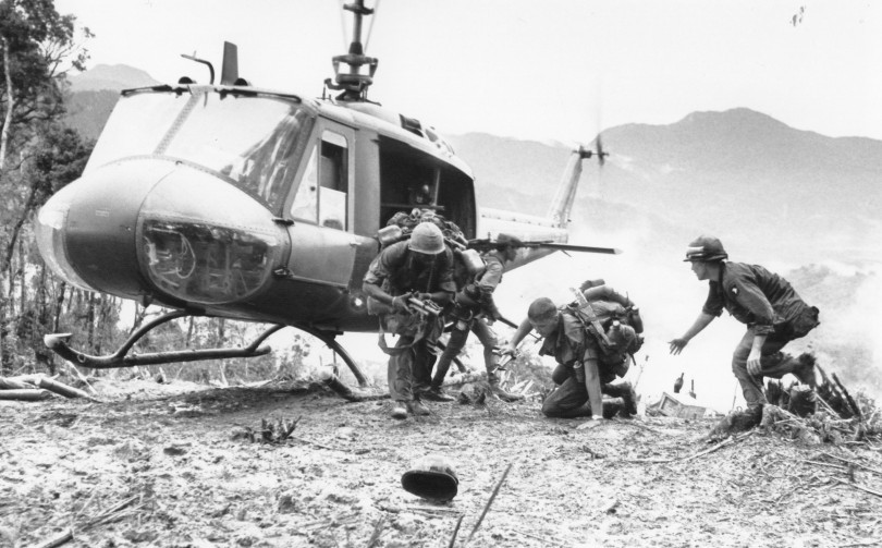 U.S. paratroopers come to the aid of a fallen buddy after being evacuated from Hamburger Hill on the western edge of the A Shau Valley, May 1969. Troops of the 101st Airborne suffered heavy casualties in 10 days of close quarters fighting before finally taking Ap Bia Mountain.   Source: AP Photo