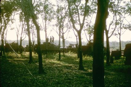 Dau Tieng, Vietnam. Operation Manhattan. 1/4 Cav vehicles just inside the road tree line. The 11th ACR was to our immediate right as you looked out toward the road.  Source: VAS048242, Philip Varsel Collection, The Vietnam Center and Sam Johnson Vietnam Archive, Texas Tech University